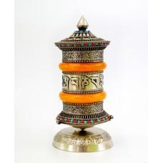 Молитвенный барабан настольный в серебряном цвете №2
