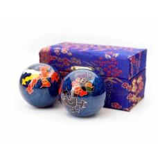 Массажные шары Баодинга пара Эмаль Дракон Феникс синие 4,7 см