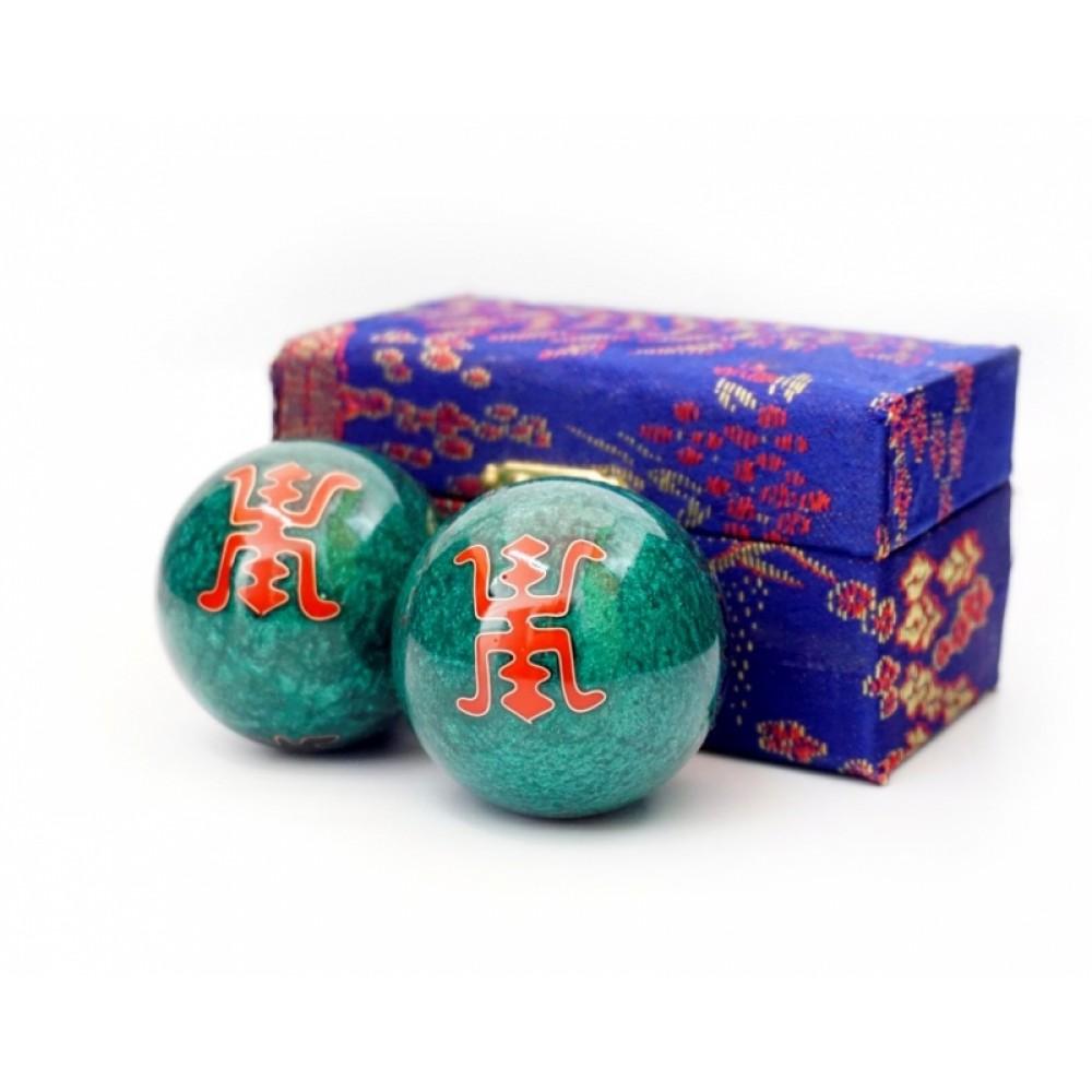 Массажные шары Баодинга пара Эмаль Двойная удача зелёные 4,7 см