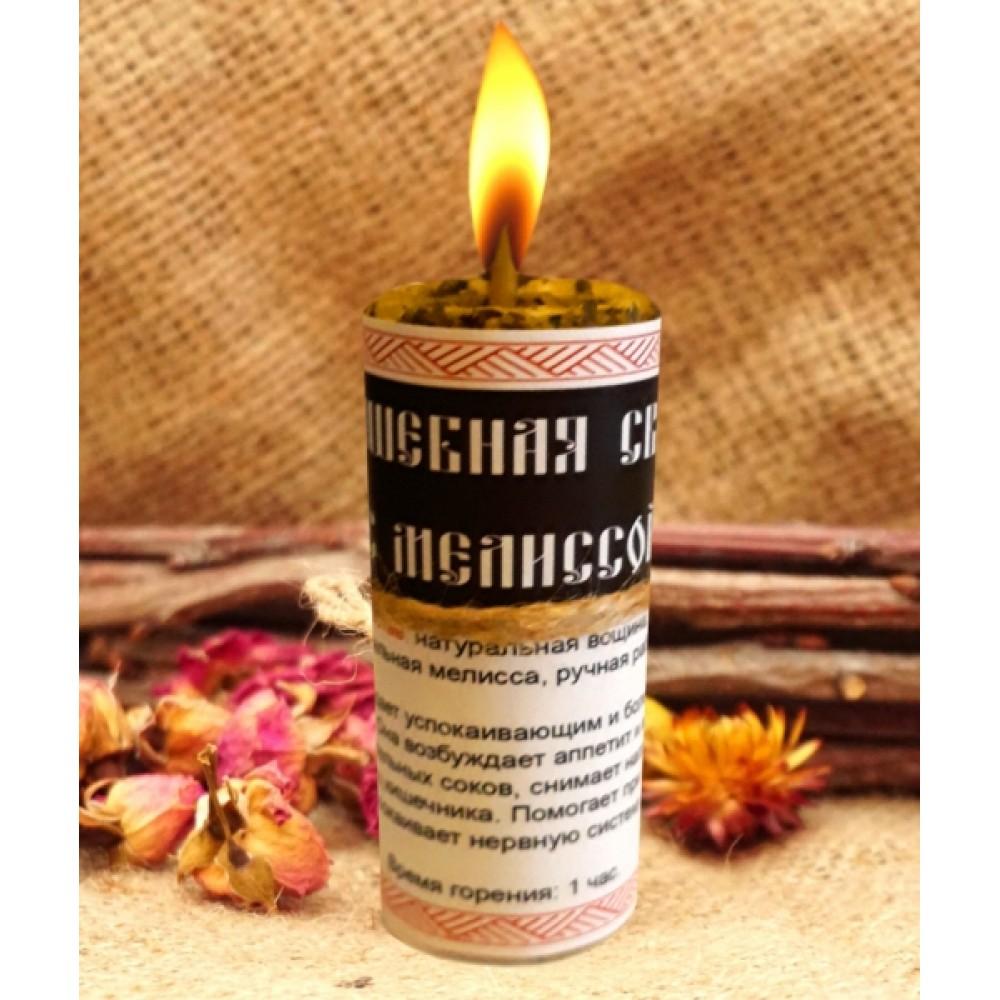 Волшебная свеча с мелиссой ручная работа