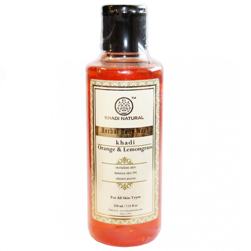 """Гель для душа восстанавливающий """"Апельсин и Лемонграсс"""" Orange & Lemongrass herbal body wash Khadi (Кхади) 210мл"""